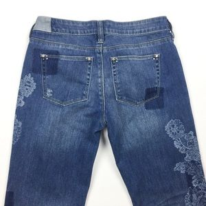 White House Black Market Jeans - WHBM Girlfriend Shadow Patches Floral Skinny Jeans